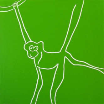 Toad Monkey - Linocut, green ink, by Jane Bristowe