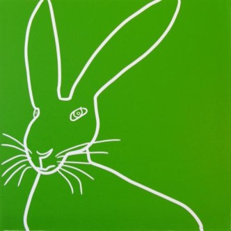 Hare - Linocut, green ink, by Jane Bristowe
