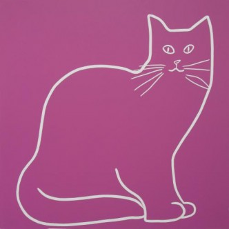 My Cat - Linocut, dark pink ink, by Jane Bristowe