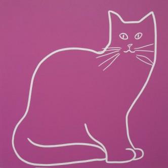 My Cat - Linocut, dark pink ink, by Jane Bristowe