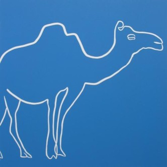 Camel - Linocut, blue ink, by Jane Bristowe