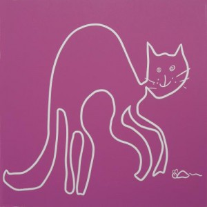 Cat and Mouse- Linocut, dark pink ink, by Jane Bristowe