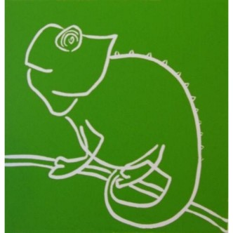 Chameleon - Linocut, green ink, by Jane Bristowe