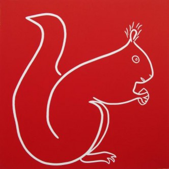 Red Squirrel - Linocut, red ink, by Jane Bristowe