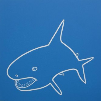 Shark - Linocut, blue ink, by Jane Bristowe