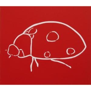 Ladybird - Linocut, red ink, by Jane Bristowe