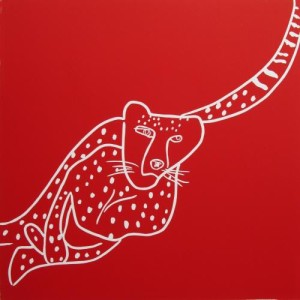 Cheetah - Linocut, red ink, by Jane Bristowe