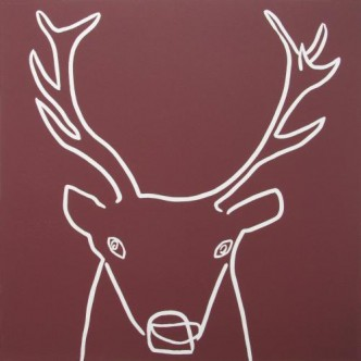 Stag - Linocut, maroon ink, by Jane Bristowe