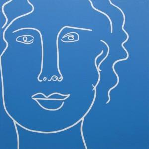 Lady in Blue - Linocut, by Jane Bristowe