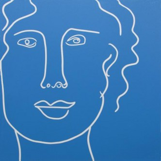Lady in Blue - Linocut, by Jane Bristowe