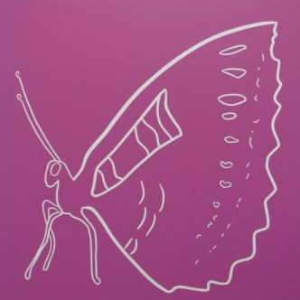 Butterfly side on - Linocut, plum pink, by Jane Bristowe