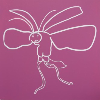 Flying Beetle - Linocut, pink ink, by Jane Bristowe