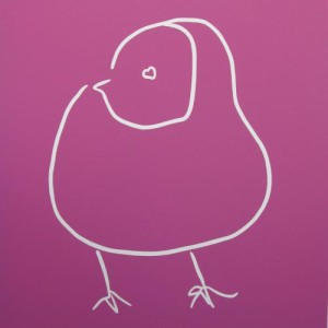 Chick - Linocut, pink ink, by Jane Bristowe