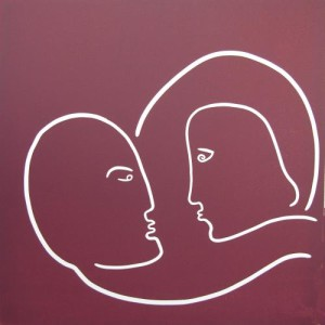Lovers - Linocut, plum ink, by Jane Bristowe