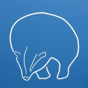 Badger - Linocut, Blue ink, by Jane Bristowe