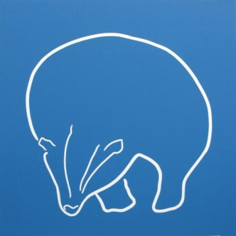 Badger - Linocut, Blue ink, by Jane Bristowe