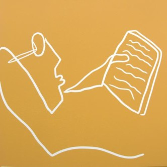 Reading on the Beach - Linocut, sandy yellow ink, by Jane Bristowe