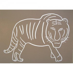 Tiger Stalking - Linocut, mushroom ink, by Jane Bristowe