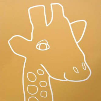Giraffe Head- Linocut, mustard yellow ink, by Jane Bristowe