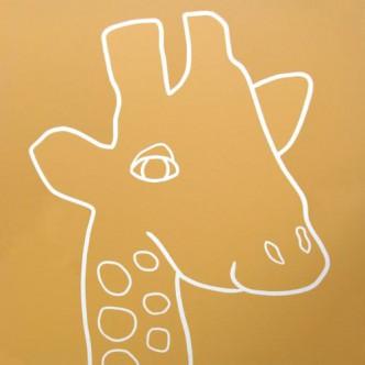 Giraffe Head- Linocut, mustard yellow ink, by Jane Bristowe