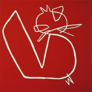 Red cat - Linocut, red ink, by Jane Bristowe