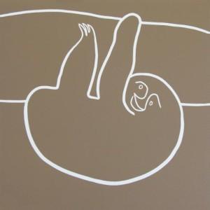 Sloth - Linocut, mushroom ink, by Jane Bristowe