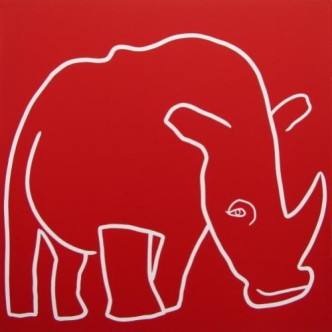 Rhino One Horn - Linocut, red ink, by Jane Bristowe