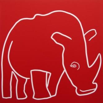 Rhino One Horn - Linocut, red ink, by Jane Bristowe