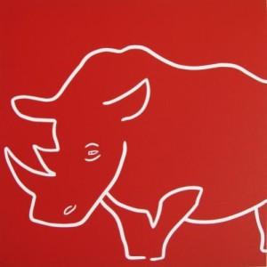 Rhino Sleepy - Linocut, red ink, by Jane Bristowe