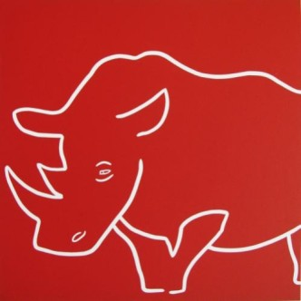 Rhino Sleepy - Linocut, red ink, by Jane Bristowe