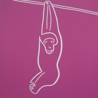 Gibbon - Linocut, dark pink ink, by Jane Bristowe