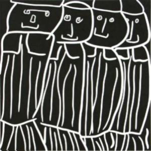 Bankers - Linocut, black ink, by Jane Bristowe