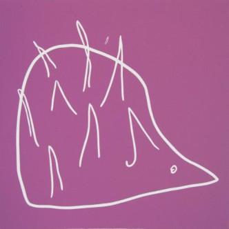Hedgehog - Linocut, pink ink, by Jane Bristowe