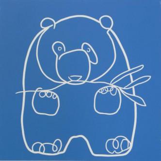 Panda - Linocut, blue ink, by Jane Bristowe