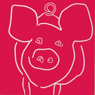 Pig - Linocut, Fuschia Pink ink, by Jane Bristowe