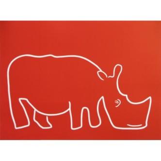 Really Big Rhino - Linocut, red ink, by Jane Bristowe