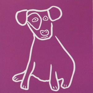 Puppy - Linocut, pink ink, by Jane Bristowe