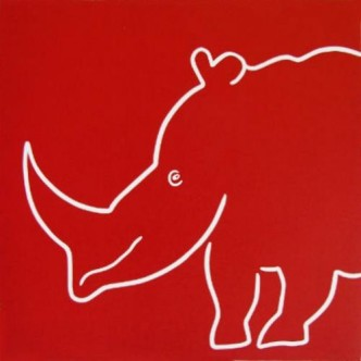 Rhino Smiling - Linocut, red ink, by Jane Bristowe