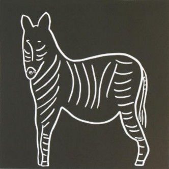 Zebra - Linocut, Black and White, by Jane Bristowe