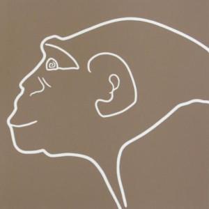 Chimpanzee - Linocut, mushroom ink, by Jane Bristowe