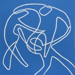 Dancers - Linocut, blue ink, by Jane Bristowe