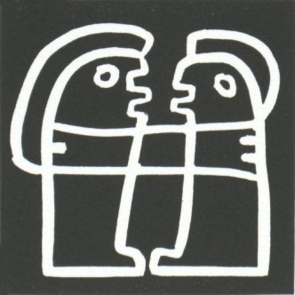 Me and You - Linocut, black ink, by Jane Bristowe