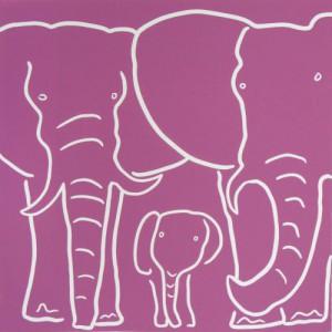 Elephant Family - Linocut, dark pink ink, by Jane Bristowe