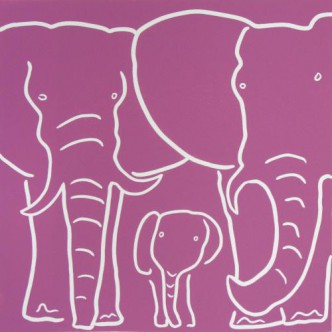 Elephant Family - Linocut, dark pink ink, by Jane Bristowe