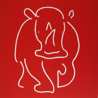 Rhinoceros- Linocut, by Jane Bristowe