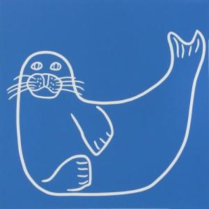 Seal - Linocut, blue ink, by Jane Bristowe