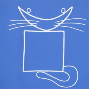 Square cat - 1 - Linocut, blue ink, by Jane Bristowe
