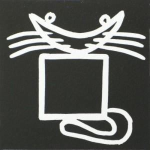 Black Square cat  - Linocut, black ink, by Jane Bristowe
