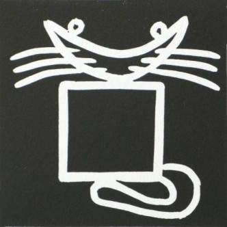 Black Square cat - Linocut, black ink, by Jane Bristowe