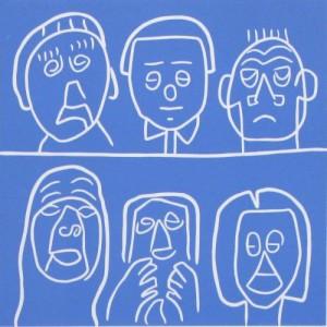 Audience - Linocut, blue ink, by Jane Bristowe